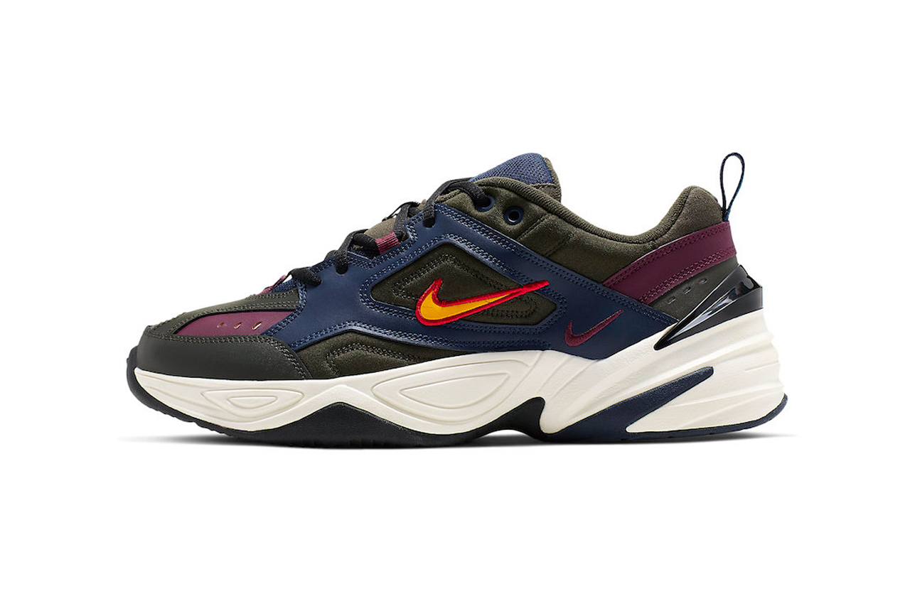 nike m2k tekno bordeaux midnight navy gold colorway release