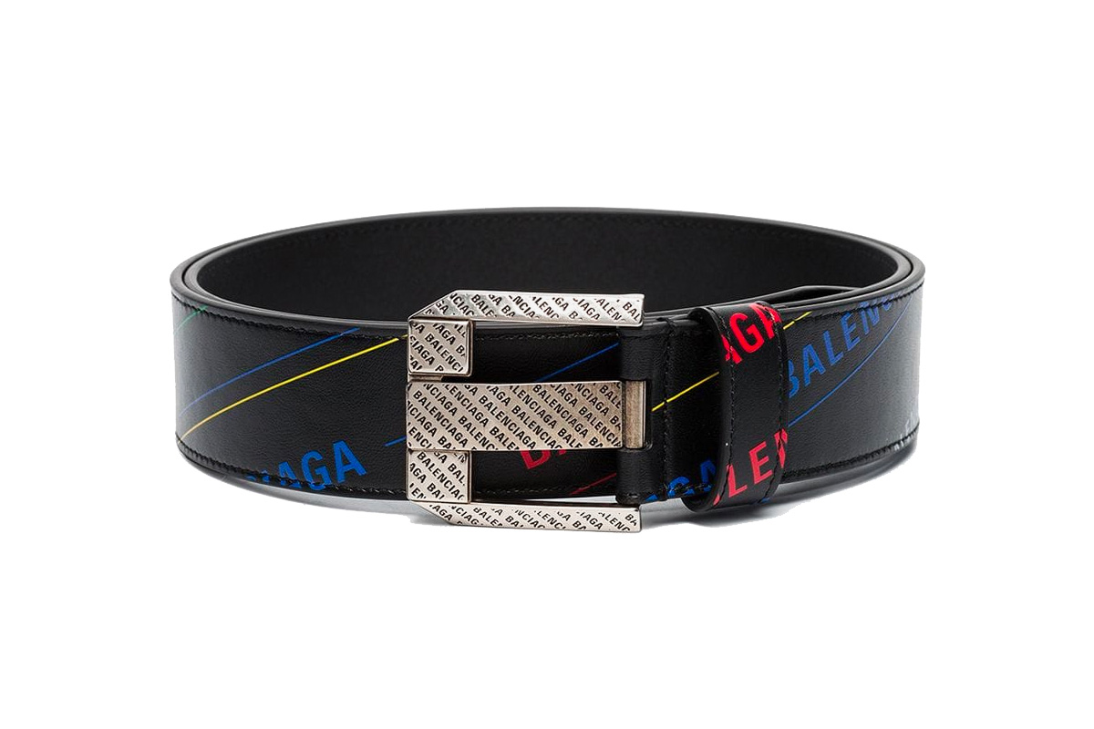 Balenciaga Logo Print Leather Belt