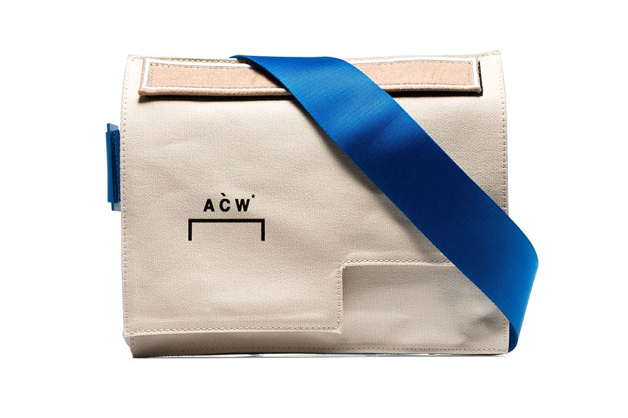 A-COLD-WALL* Cream Contrast Strap Asymmetric Cotton Messenger Bag