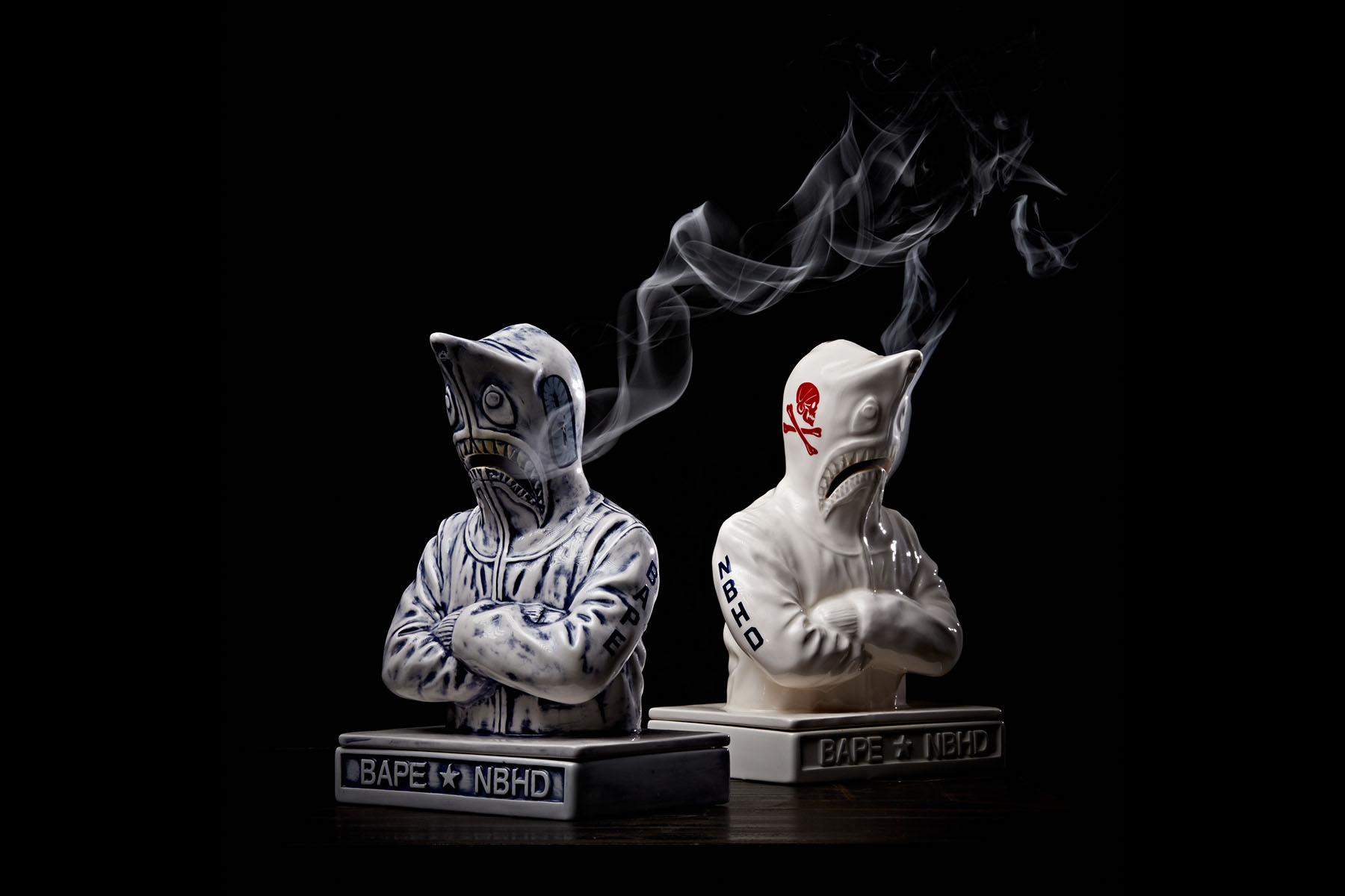 BAPE NEIGHBORHOOD Shark Hoodie Incense Chamber Release a bathing ape white blue porcelain attack