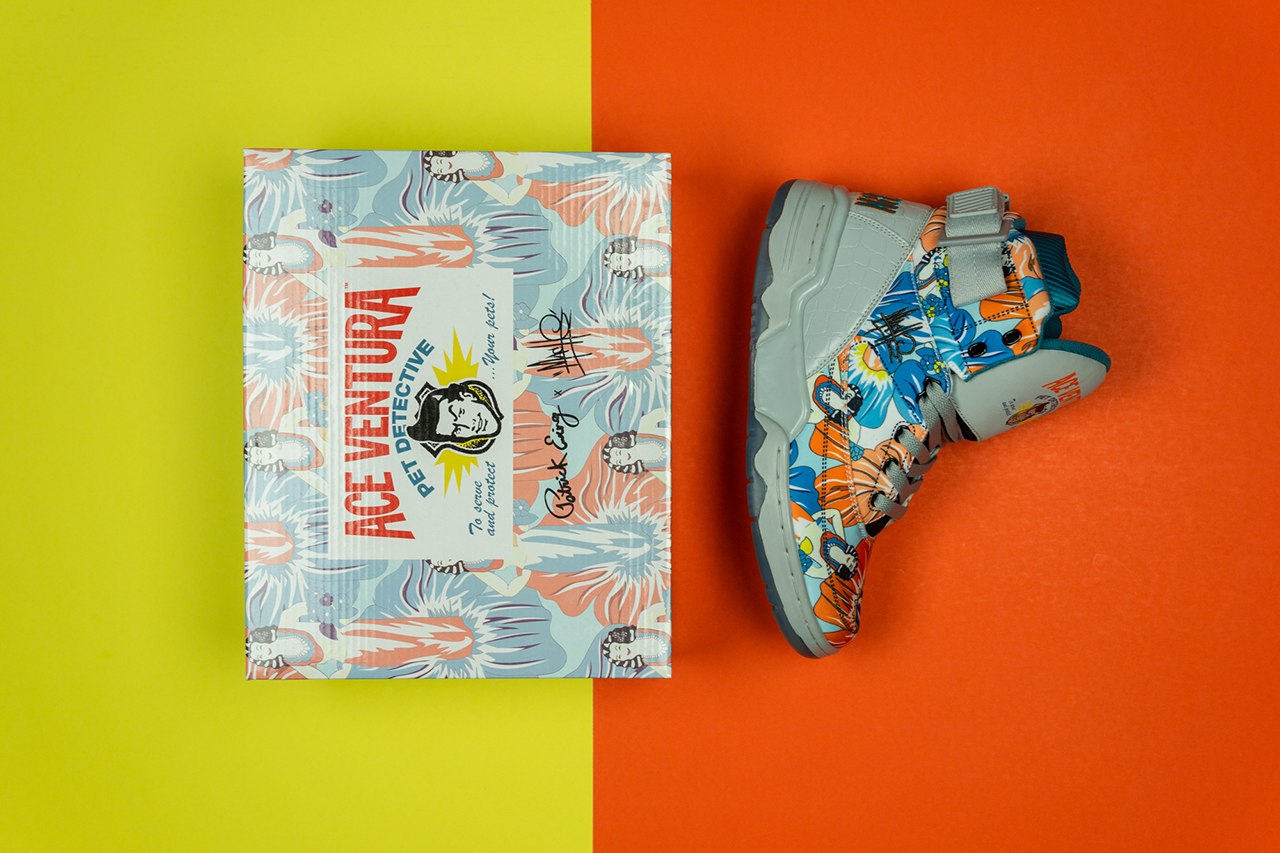 "Ewing Athletics 33 HI Mache 275 ""Ace Ventura"" 25th Anniversary Celebration Collaboration Sneaker Release Information Drop Date Early May Custom Floral Design Jacket Shorts Apparel Capsule"