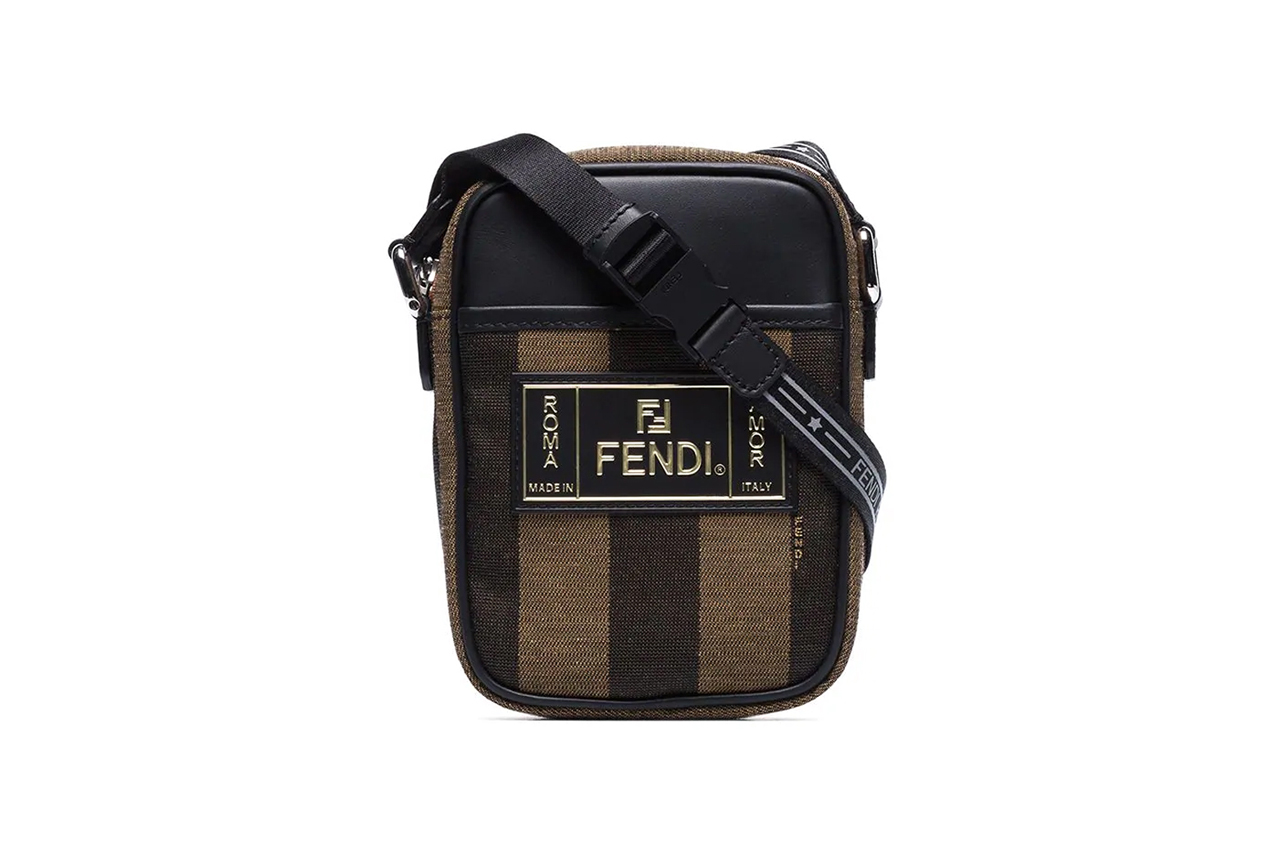 Fendi Brown Pequin Striped Messenger Bag
