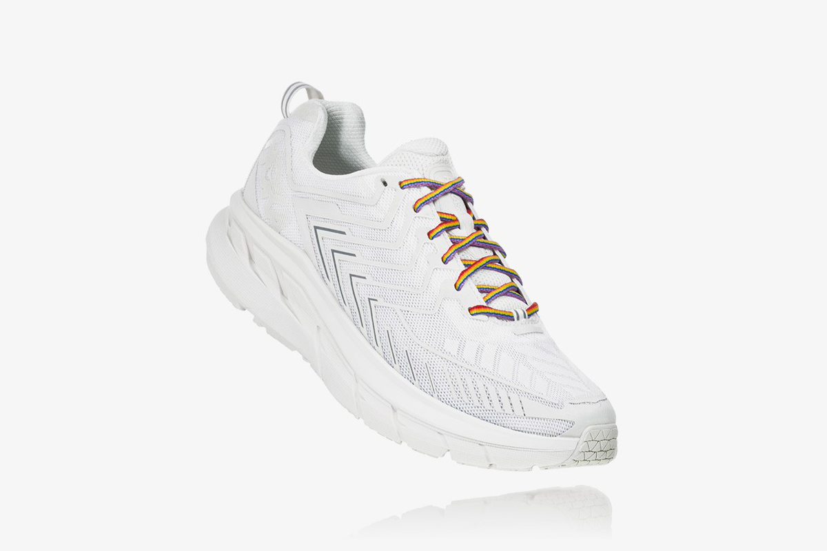 HOKA ONE ONE OV Clifton Outdoor Voices Collaboration Sneaker Release Drop Date Cop Now Buy White 5mm Toe Drop Meta-Rocker Cushioned Midsole Tonal Mesh Upper Construction Rainbow Laces