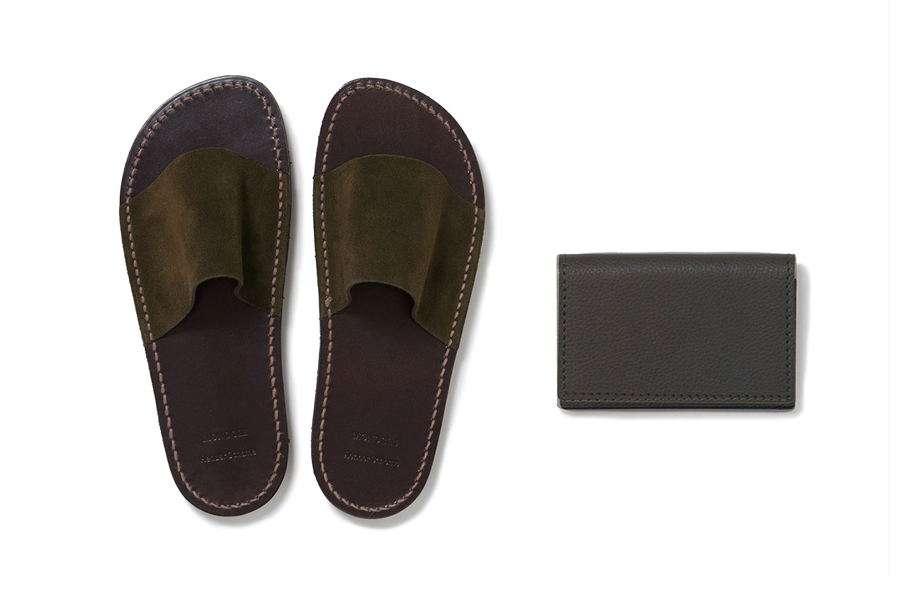 'Monocle' x Hender Scheme Exclusive Collaboration Items leather slippers card case atelier tanned may 3 2019 release date drop info buy olive green color