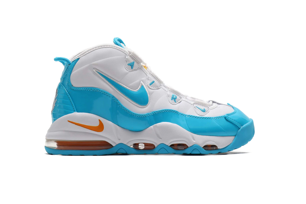 Nike Air Max Uptempo 95 White Blue Fury Canon Gold SS19 Sneaker Release Information Drop Date Atmos Tokyo Japan Pippen  Retro Basketball Style AM95 Sole