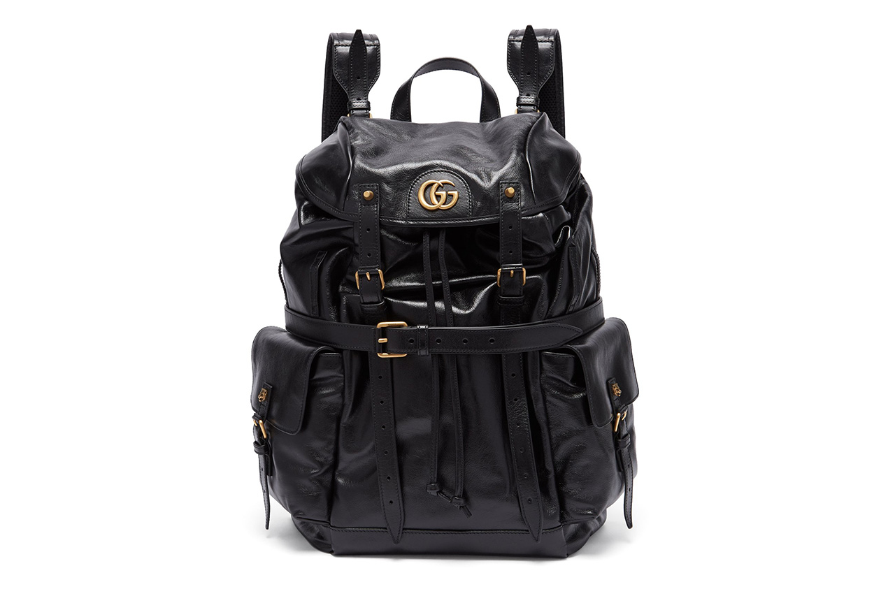 Gucci GG Plaque Crinkled Leather Backpack Info Available Online Purchase Cop Buy Matches Matchesfasion MATCHESFASHION.COM Bags Tiger Head Studs Straps