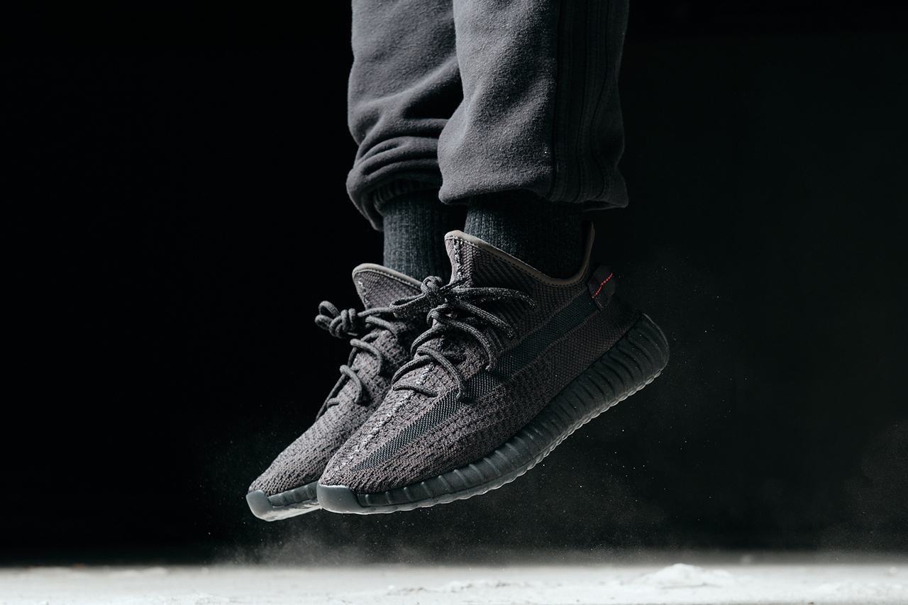 adidas YEEZY BOOST 350 V2 Kanye West All-Black Non-Reflective Static Release Details Information Closer On foot look buy cop purchase june 7 8 glow in the dark yellow