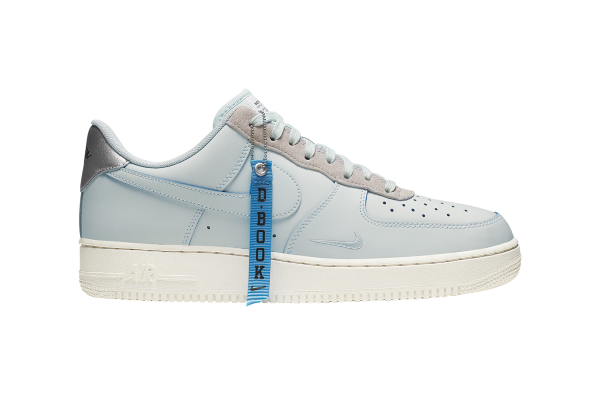 "Devin Booker x Nike Air Force 1 LV8 Release Info drop date foot locker low Blue D-Book hang tag ""Barely Grey/Moon Particle-Pale Ivory"" AJ9716-001 drop date price stockist where to buy"