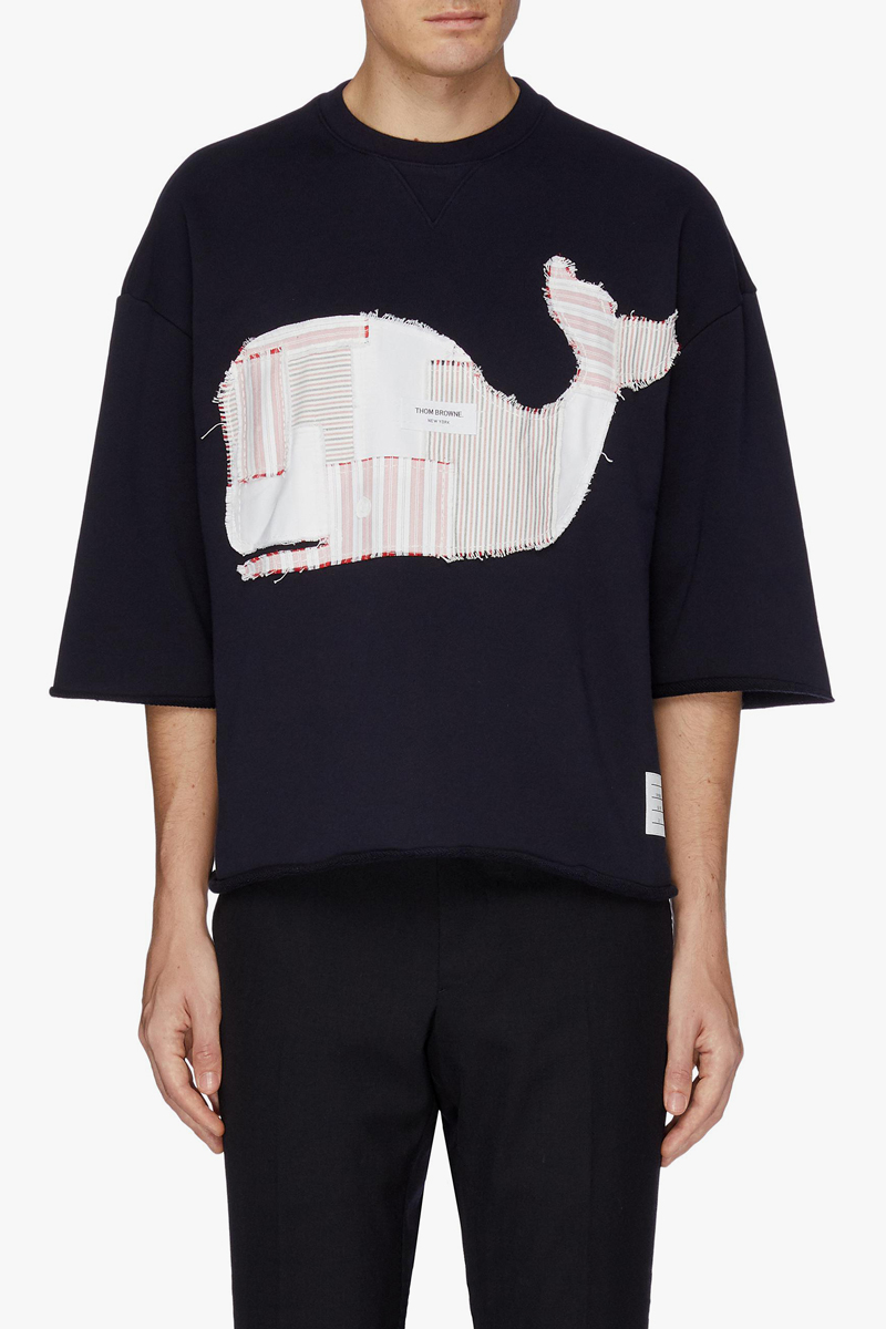 THOM BROWNE Patchwork Whale Appliqué T-shirt Spring/Summer 2019