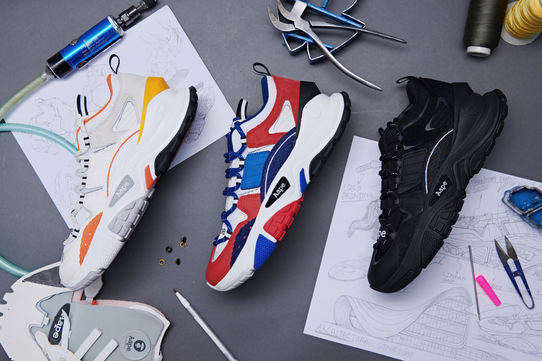 AAPE by A Bathing Ape Dimension SS19 Collection spring summer 2019 bape orange white red blue white black triple black