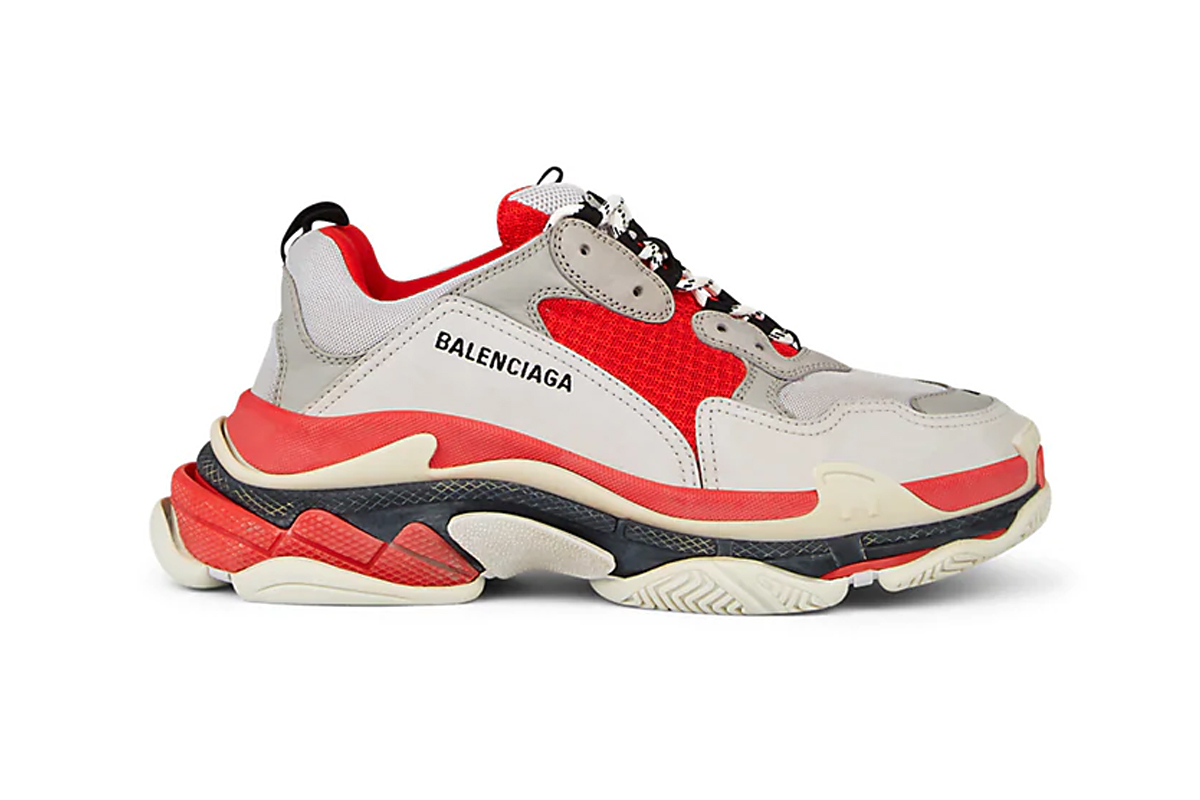 Balenciaga Triple S Red Off-White Chunky midsole embroidery ecru beige grey mesh sneakers suede