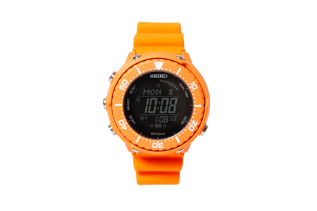 BEAMS Seiko Prospex Fieldmaster LOWERCASE Digital Watch Orange Rescue Emergency dial bezel 20 bar waterproof solar caliber S208 500 pieces limited edition