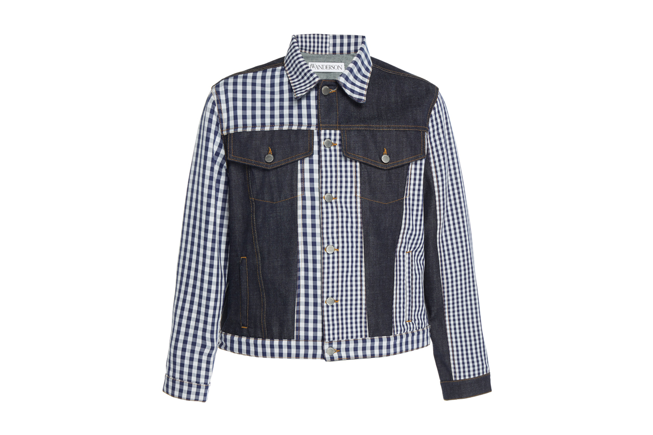 JW Anderson Patchwork Gingham Denim Jacket asymmetrical white navy check tailored jonathan anderson UK british label FW19