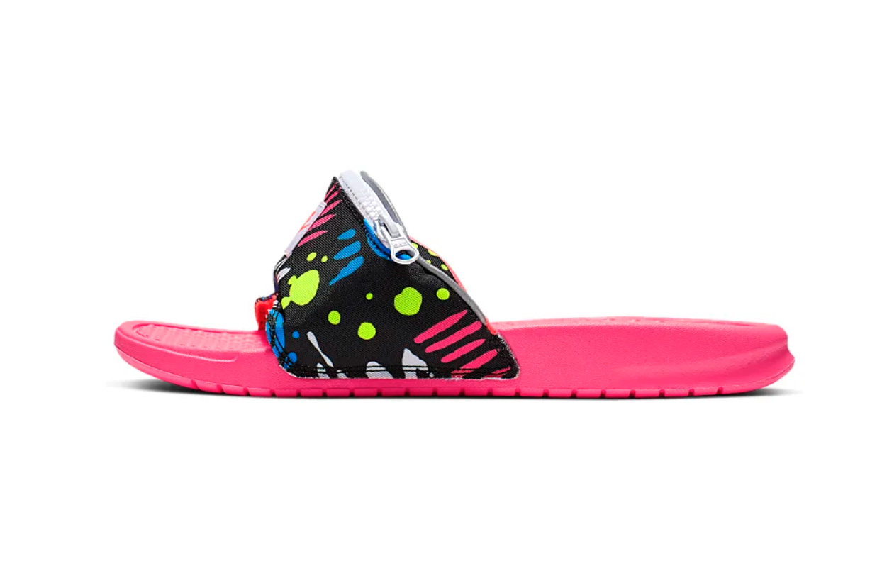 Nike Benassi JDI Fanny Pack Printed Slides Release sandals pink green bum bag just do it spring summer 2019 floral print doodles 3m detailing