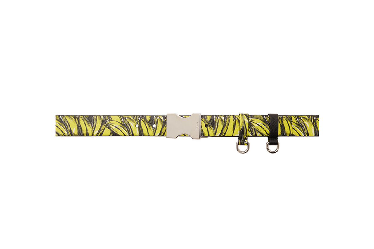 Prada Black Yellow Saffiano Banana Belt leather d ring reversible luxury design made in Italy luxe treated