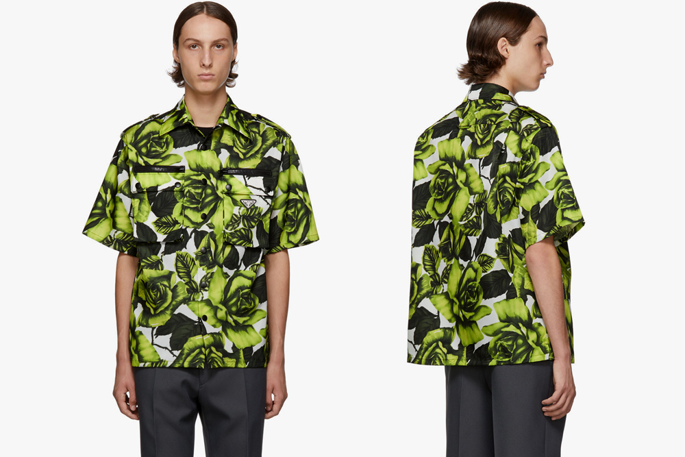 Prada Green & White Big Rose Print Bowling Shirt