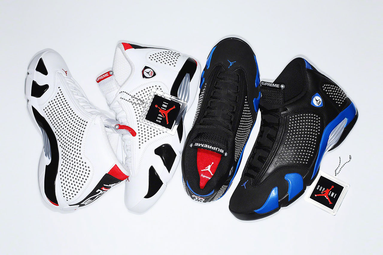 Supreme x Air Jordan 14 Pack Releases on SNKRS drop release date info buyJune 13, June 15 2019 collaboration colorways XIV university red black white