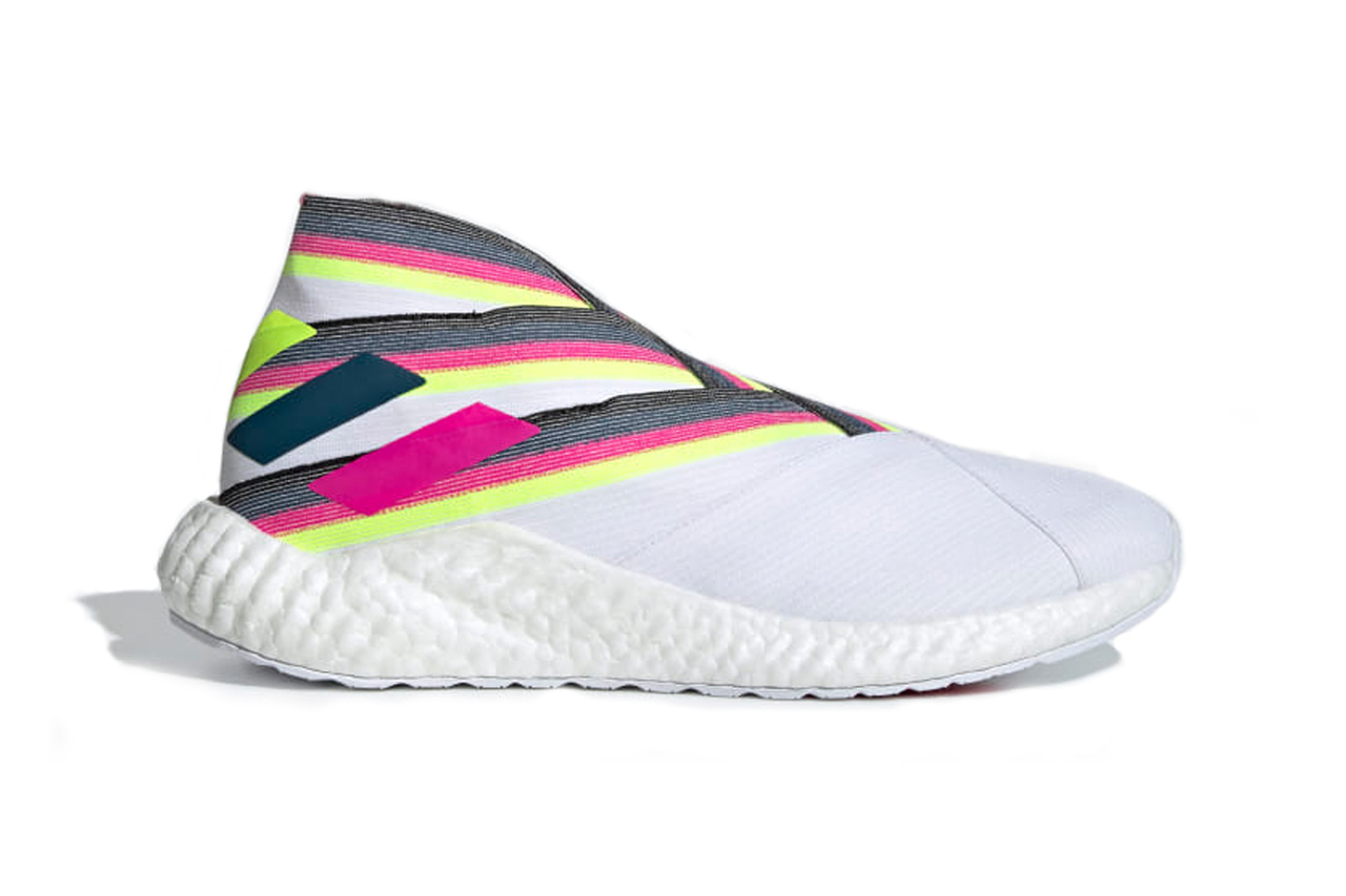 adidas Nemeziz 19+ Sneaker Release Information BOOST Technology Sole Unit Football Inspired Silhouette Sports Tension Tape Upper Cloud White Shock Pink Solar Yellow Continental Rubber