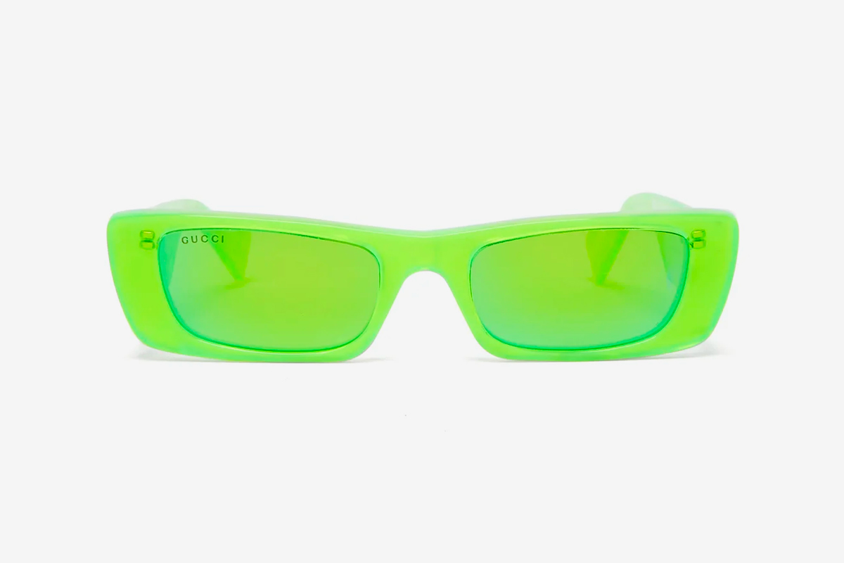 Gucci Rectangle Acetate Pre-Fall Winter 19 Release Pearlescent Neon Grey Green