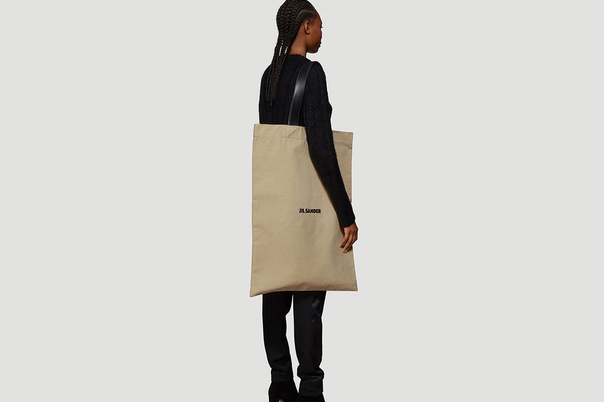 JIL Sander Beige Flat Canvas Tote Bag Release oversized bags carry items accessories