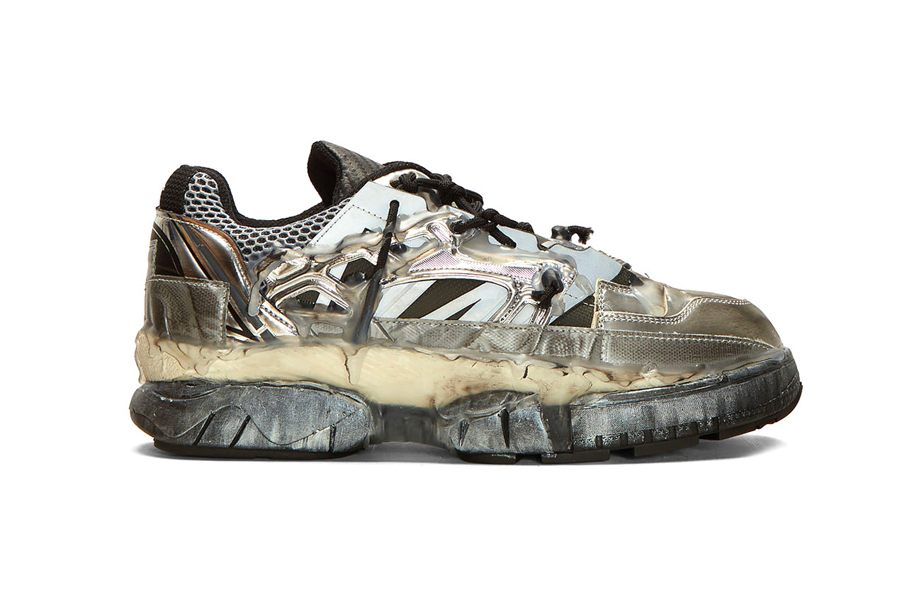 Maison Margiela Fusion Sneakers Black & Silver Release shoes designer  Made in Italy 100% Leather. 100% Textile. 100% Rubber. falling apart deconstructed duct tape mesh hot glue