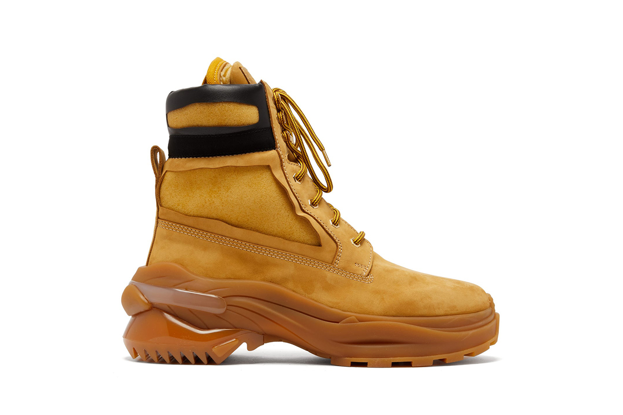 Maison Margiela Union Foam-Insert Nubuck Leather Boots Tan Wheat Black Gum Colorway Footwear Release Information Cop Online MATCHESFASHION.COM Padded Ankle