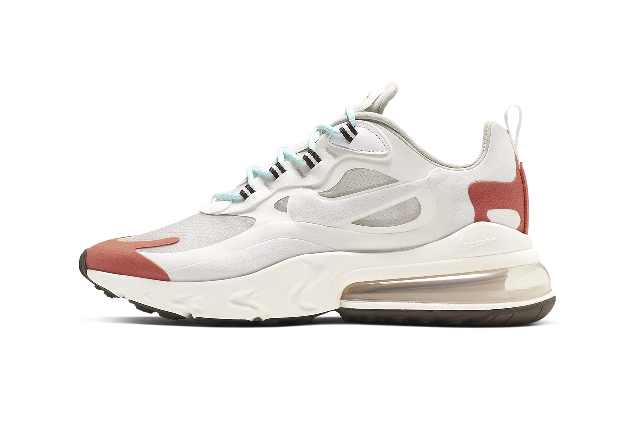"Nike Air Max 270 React ""Light Beige Chalk/Summit White/Team Orange/Platinum Tint"" Sneaker Release Date Information Drop Cop Online Members Only Access First Look Swoosh"