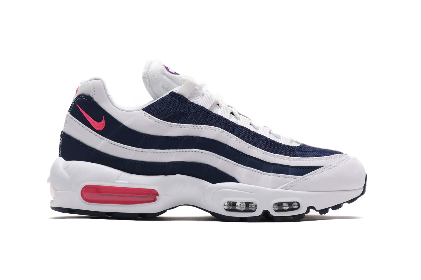 Nike Air Max 95 Pink Blast Midnight Navy white air unit bubbles midsole 90s retro vintage footwear staple 95s stripes leather mesh sidewalls Swoosh Beaverton blue red pink volt green neon