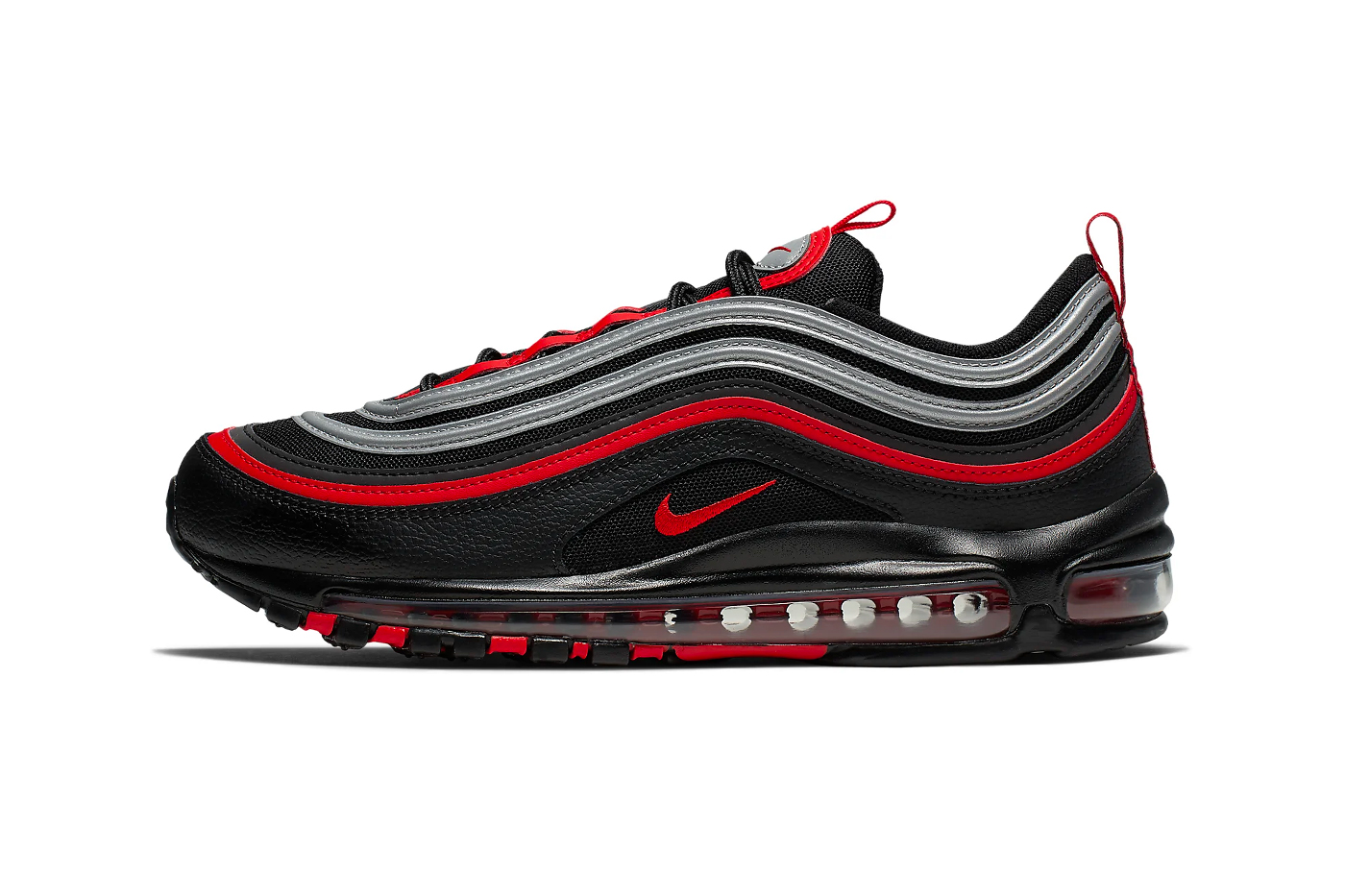 Nike Air Max 97 Bred Metallic Silver Release black university red beaverton sneakers shoes cushioning