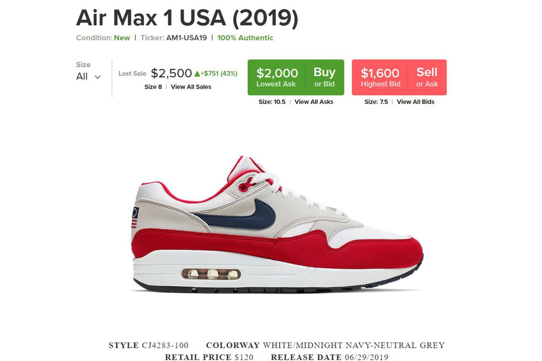"""Nike's Pulled Air Max 1 """"Fourth of July"""
