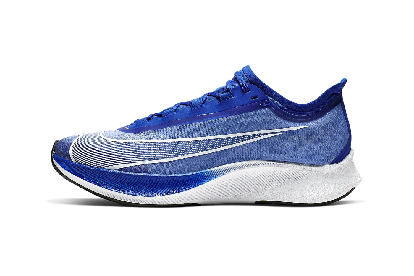 Nike Zoom Fly 3 Racer Blue Wolf Grey Black Pumice White Atmosphere Grey colorways tpu uppers react midsole vaporweave fastening lacing duo toned colorblock running time stamp