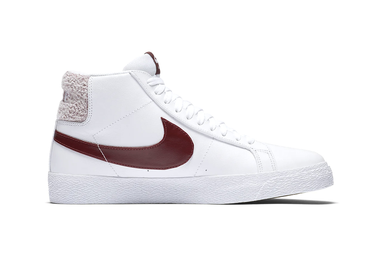 "Nike SB Zoom Blazer Mid Premium Terry Cloth Chenille Heel Tab 1972 Basketball Sneaker Silhouette Retro ""Team Red"" ""Celestial Gold"" Release Information Cop"