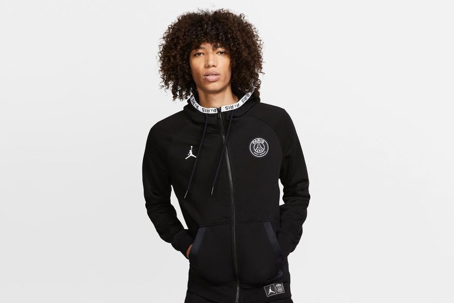 Paris Saint-Germain x Jordan Brand Wings Jacket Release psg collaborations hoodie black soccer football nike