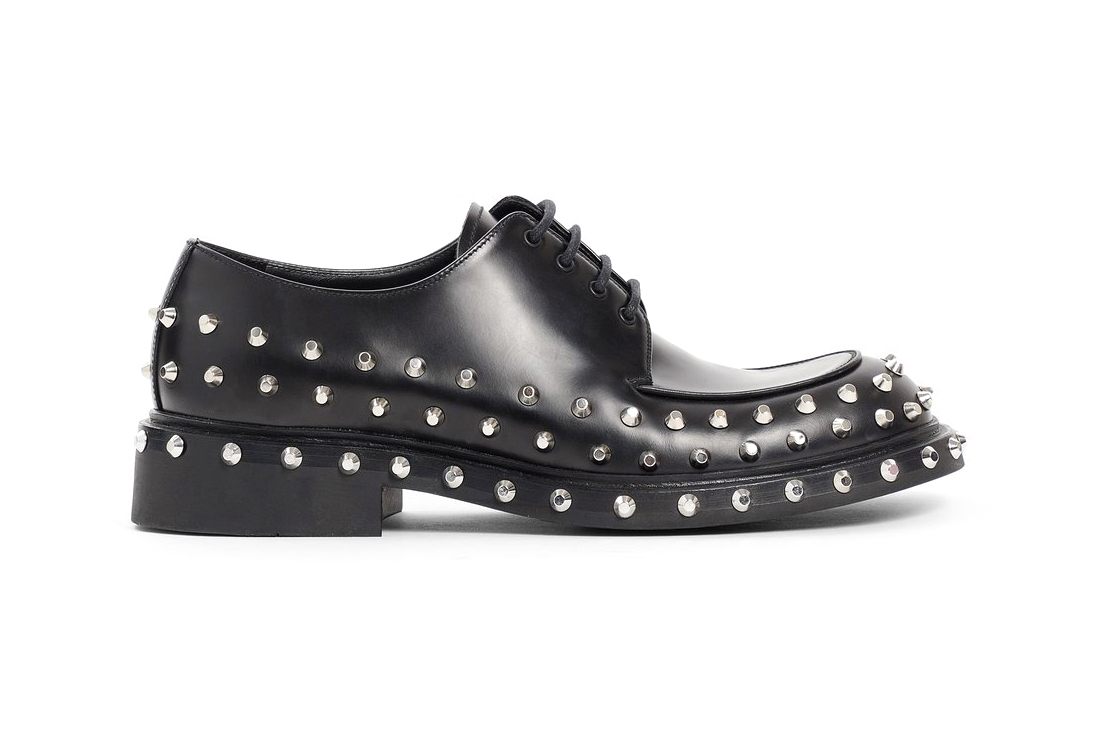 Prada Mens Black Studded Derby Shoes Release Antonioli