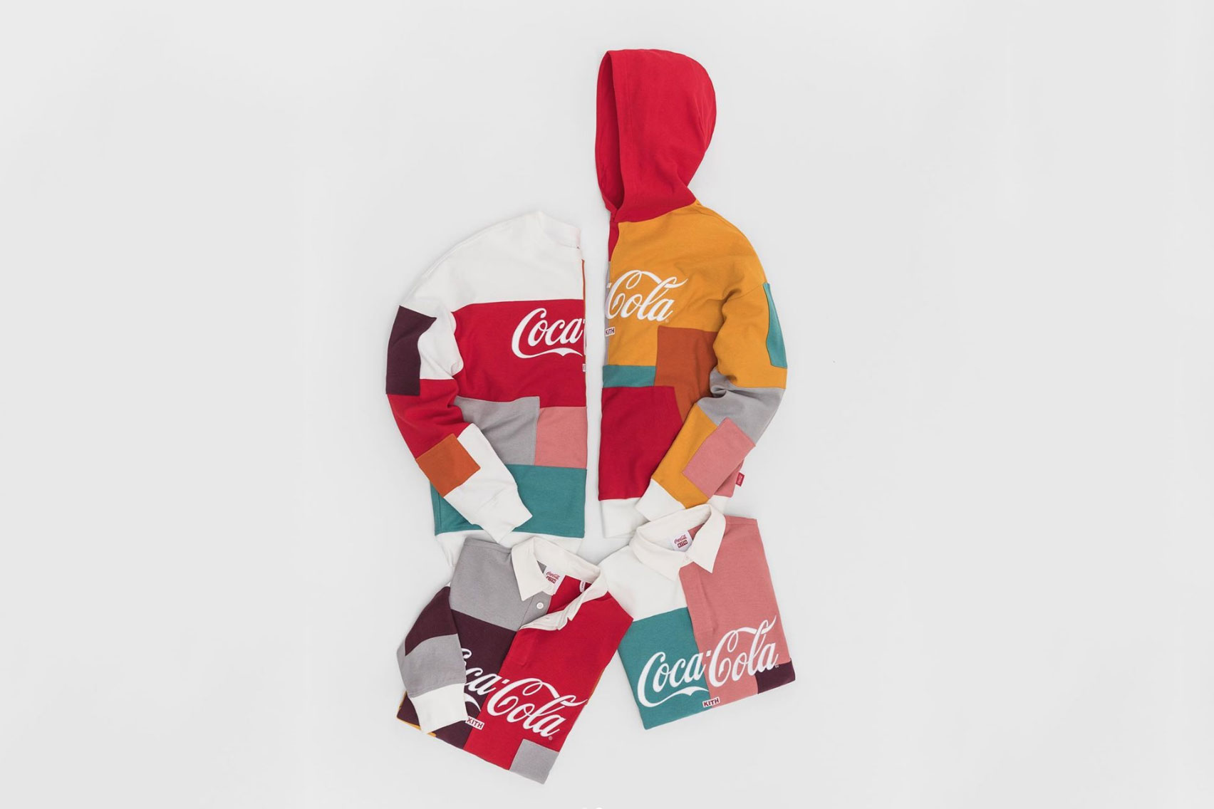 Ronnie Fieg Teases Hawaii-Themed Coca-Cola Collaborations bottles polo shirts colorblocked KITH surf contest hoodie crew neck soft drinks converse chuck 70