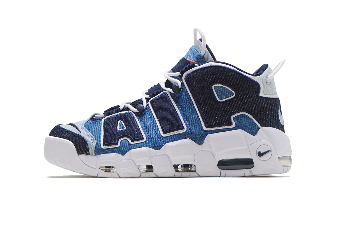 "Nike Air More Uptempo '96 ""Denim"" Colorway Info CJ6125-100 release date buy august 10 2019 white obsidian orange indigo dye"
