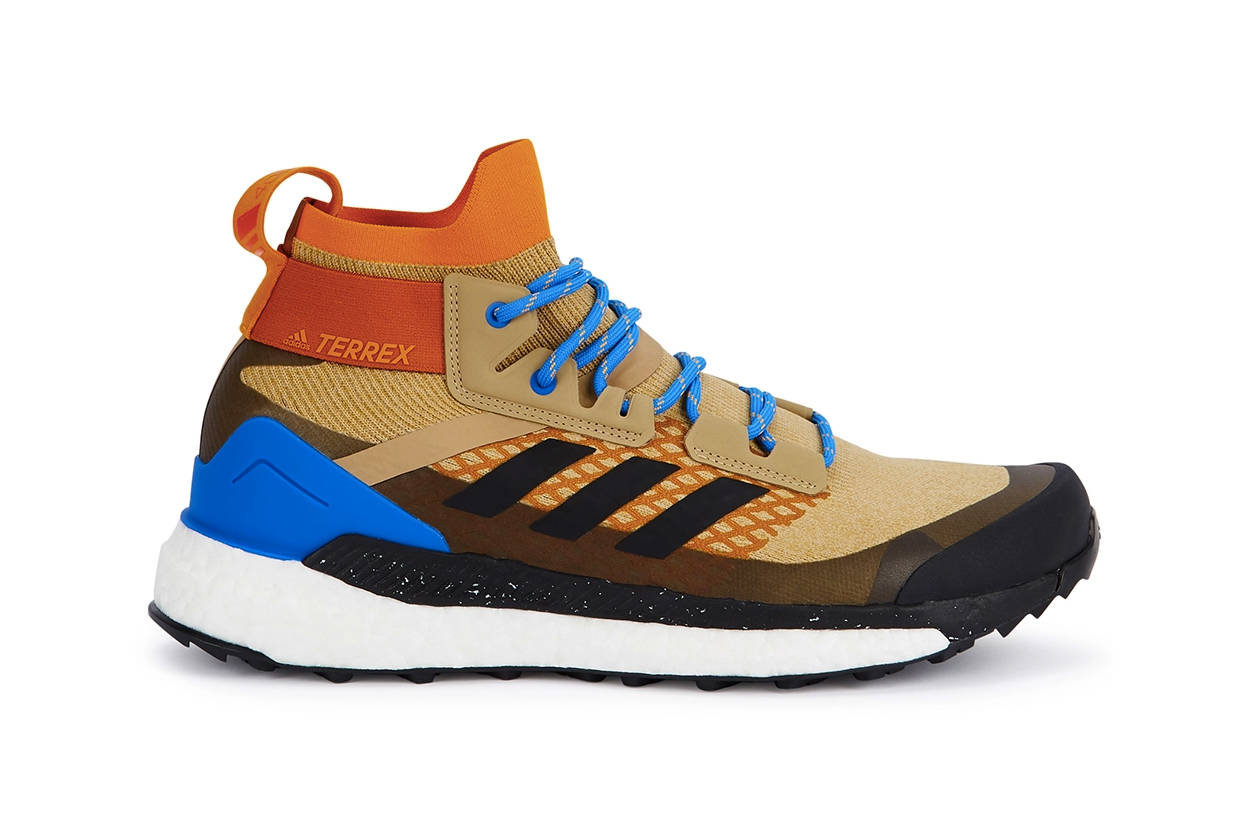adidas Terrex Free Hiker Primeknit Cream Beige Bright Blue laces ankle support brown speckled boost sole rubber torsion system footwear sneaker hiking