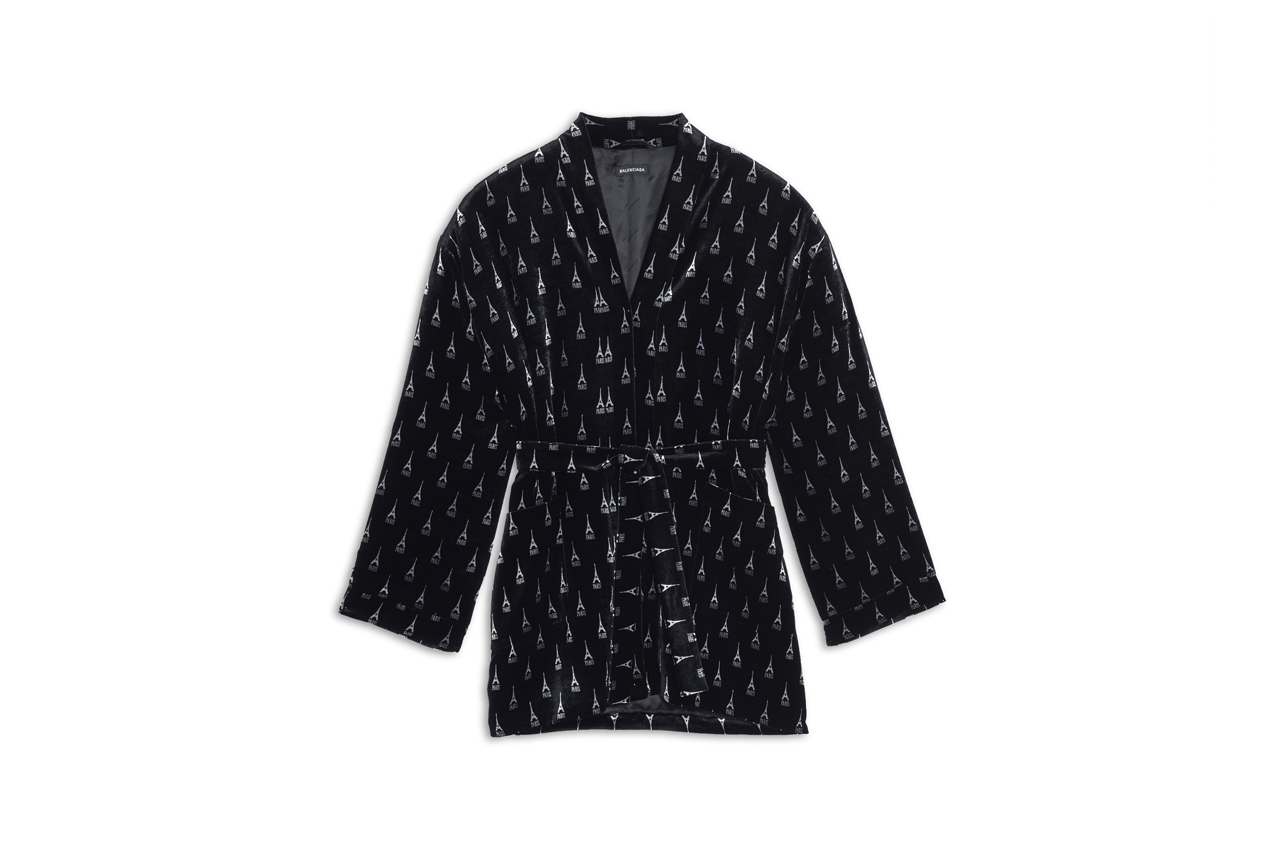 balenciaga fall winter 2019 collection release drop preorder pyjama jacket pajama pants black silk velvet cosy bb slippers eiffel tower shape gold ring paris arch ring antique silver