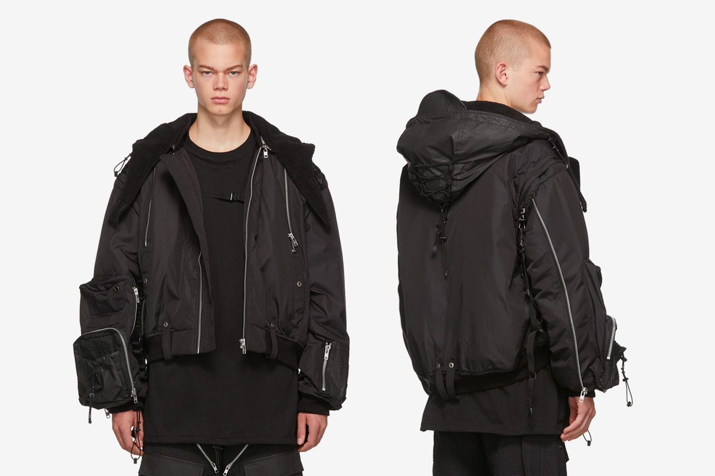 Blackmerle SSENSE Exclusive Black Hooded Bomber Jacket