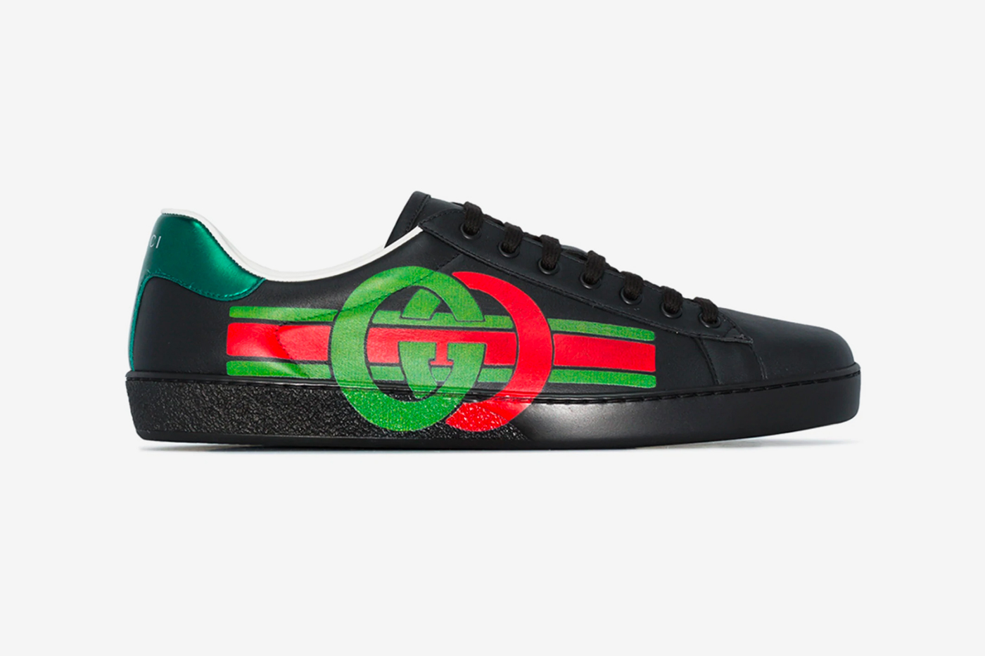 Gucci Red Green Black Ace Logo Leather
