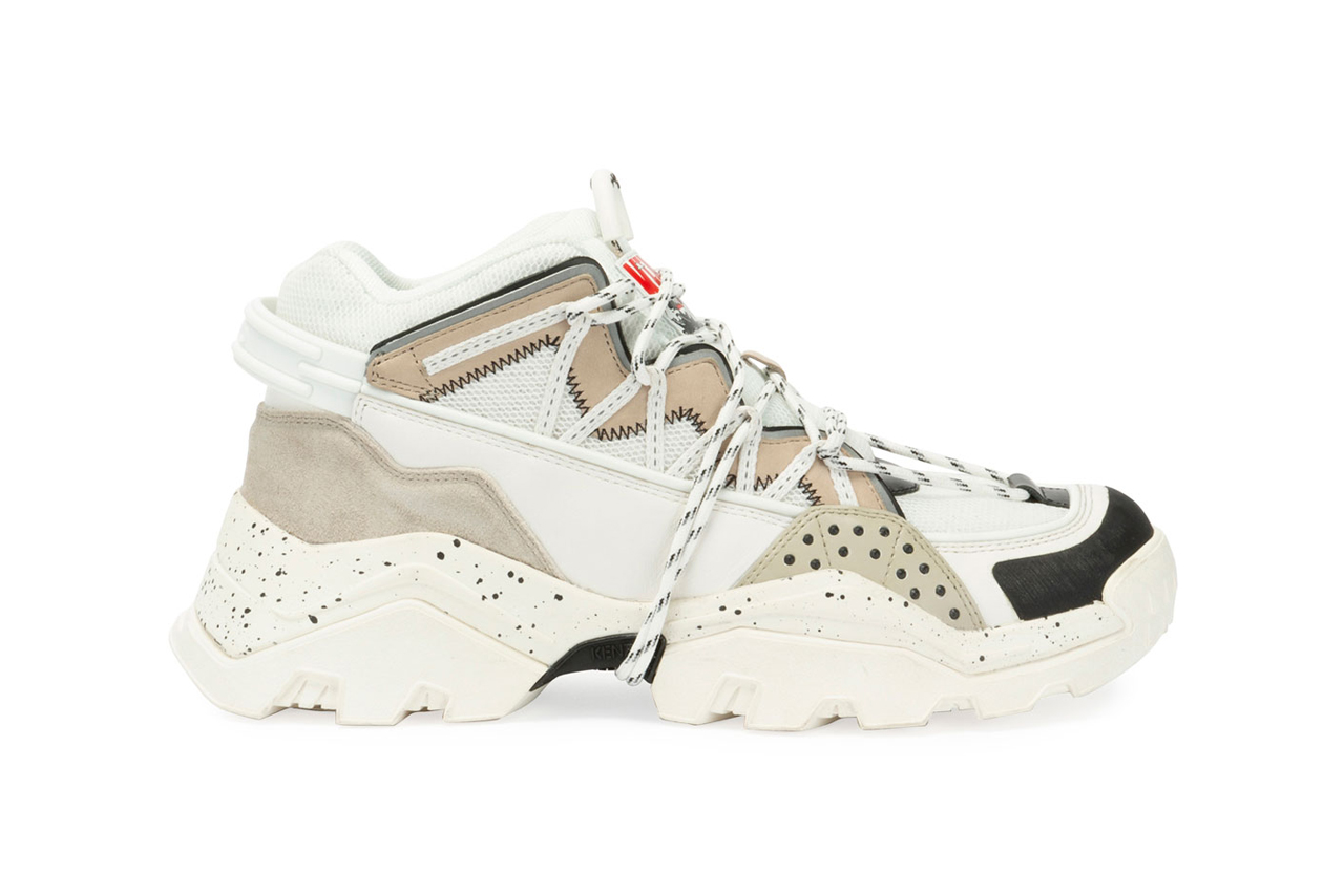 kenzo mens inka chunky speckled wraparound lace hiking sneakers white tan release