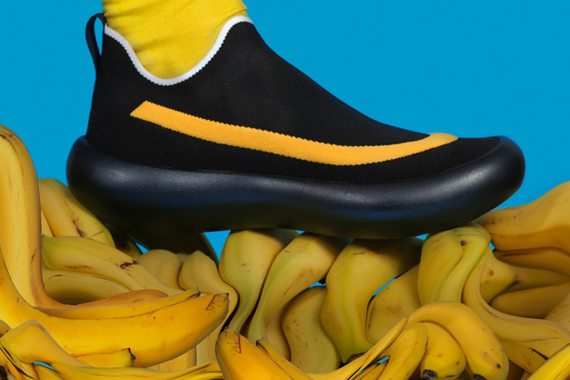 marni banana sneakers pop art design inspiration fall winter 2019 release date slip-on laces black yellow mens colorway rubber curved sole stretch knit upper
