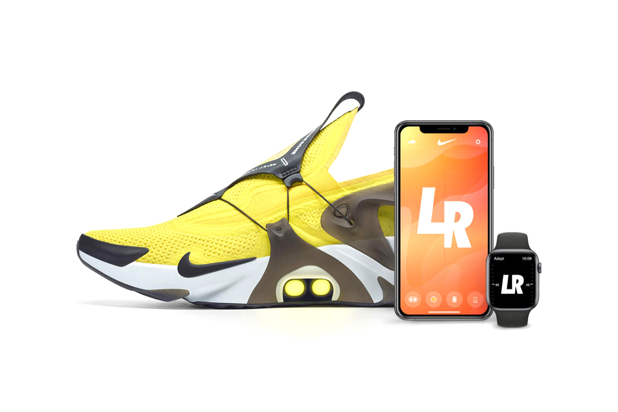 nike adapt huarache self lacing sneaker footwear app trainer color led lights options app how it works how to use buy cop purchase downlaod trainer shoe snkrs sneakrs