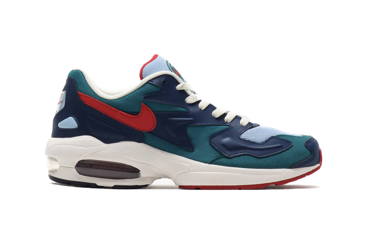 Nike Air Max2 Light Geode Teal Gym Red DESERT SAND COURT PURPLE SAIL PUMICE air unit midsole ecru rubber heel logo tinted bubbles sneaker 1994 silhouette