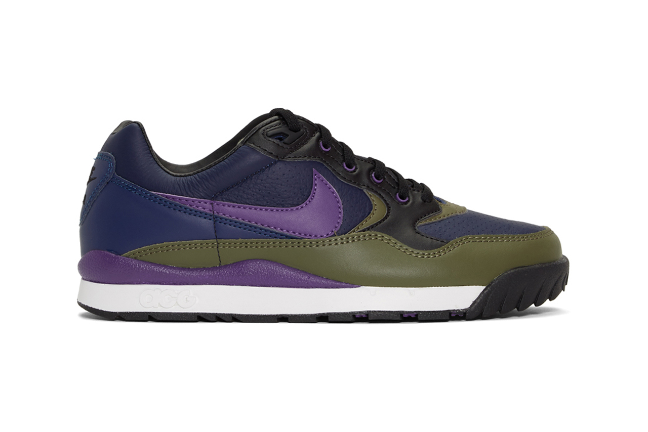 nike air wildwood acg sneakers midnight navy court purple green colorway release