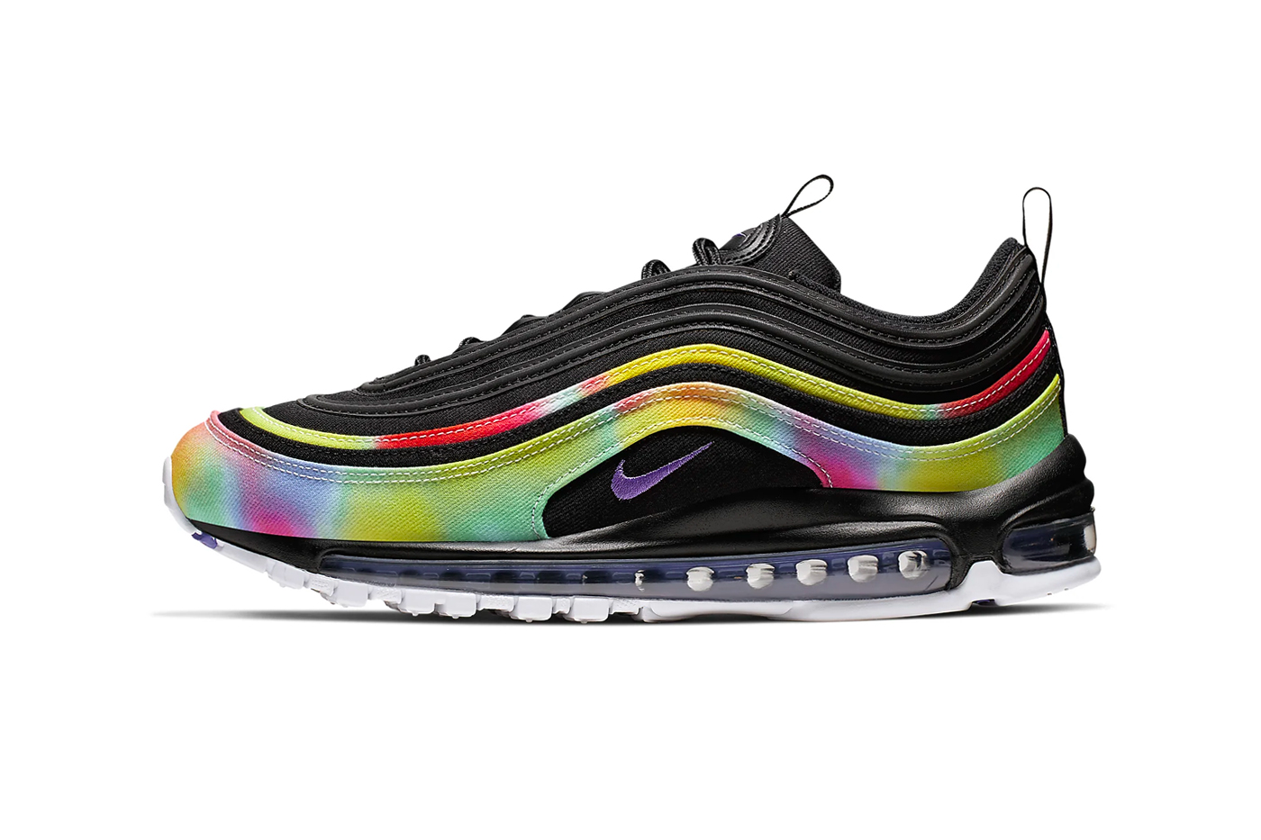 Nike Air Max 97 Black Psychic Purple White Multi Color air sole unit midsole bubbles runner trainers lifestyle sneaker footwear 3m reflective