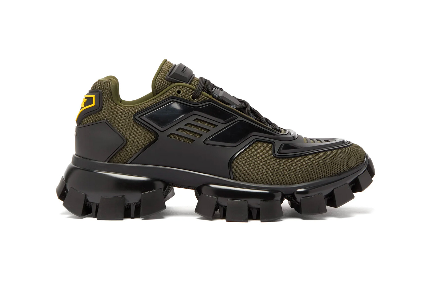 Prada Cloudbust Thunder Knitted Sneakers Release Info price drop date olive black matchesfashion.com buy now designer shoes trainers chunky treaded outsole fw19 fall/winter 2019 frankenstein