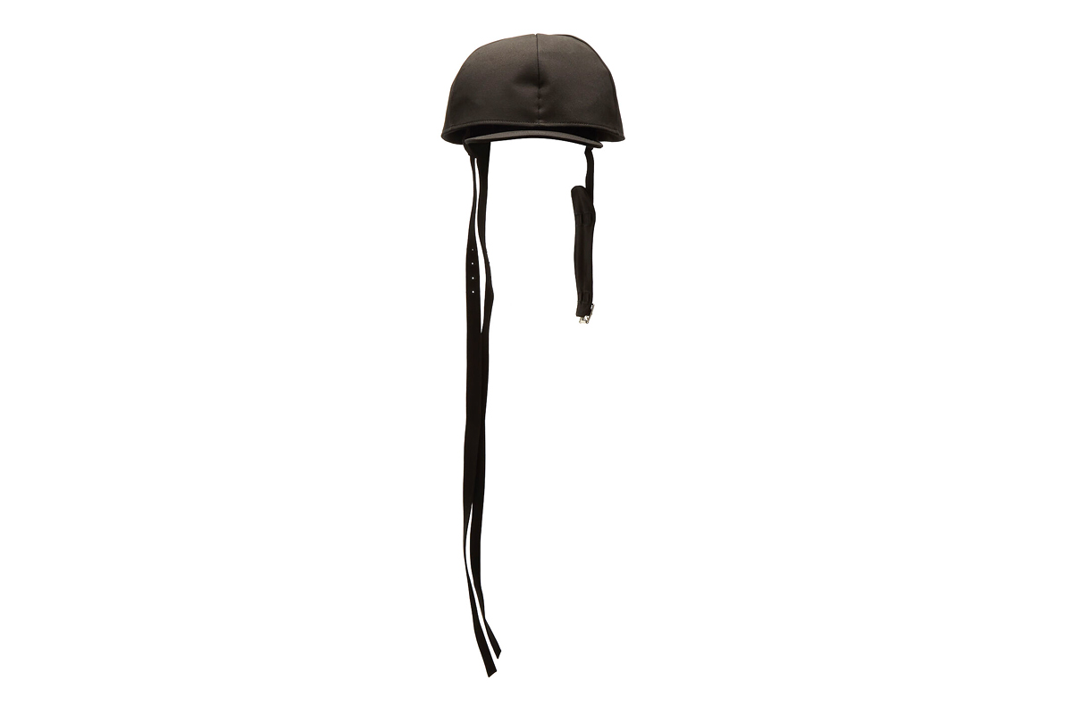 Raf Simons Strap Fastening Double Cap in Black
