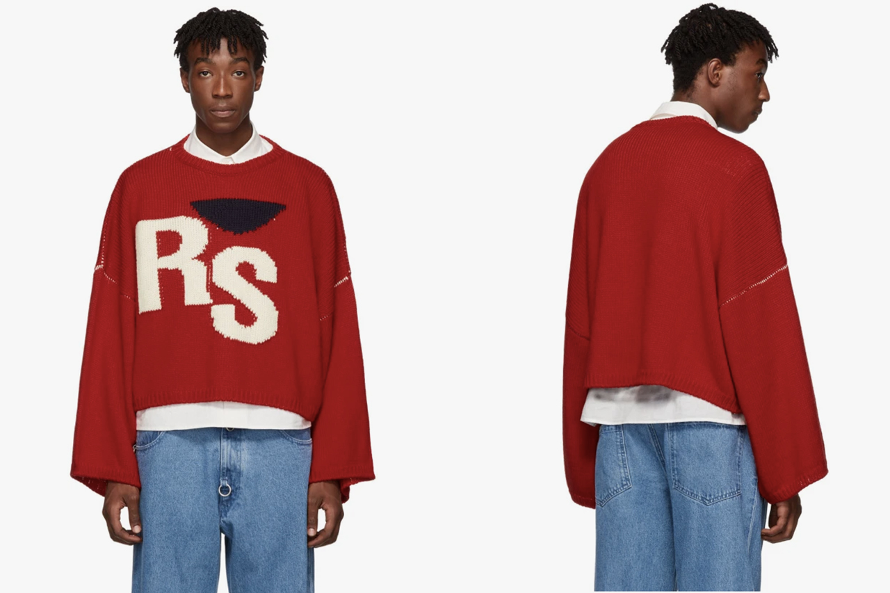 Raf Simons Red Virgin Wool Cropped Oversized