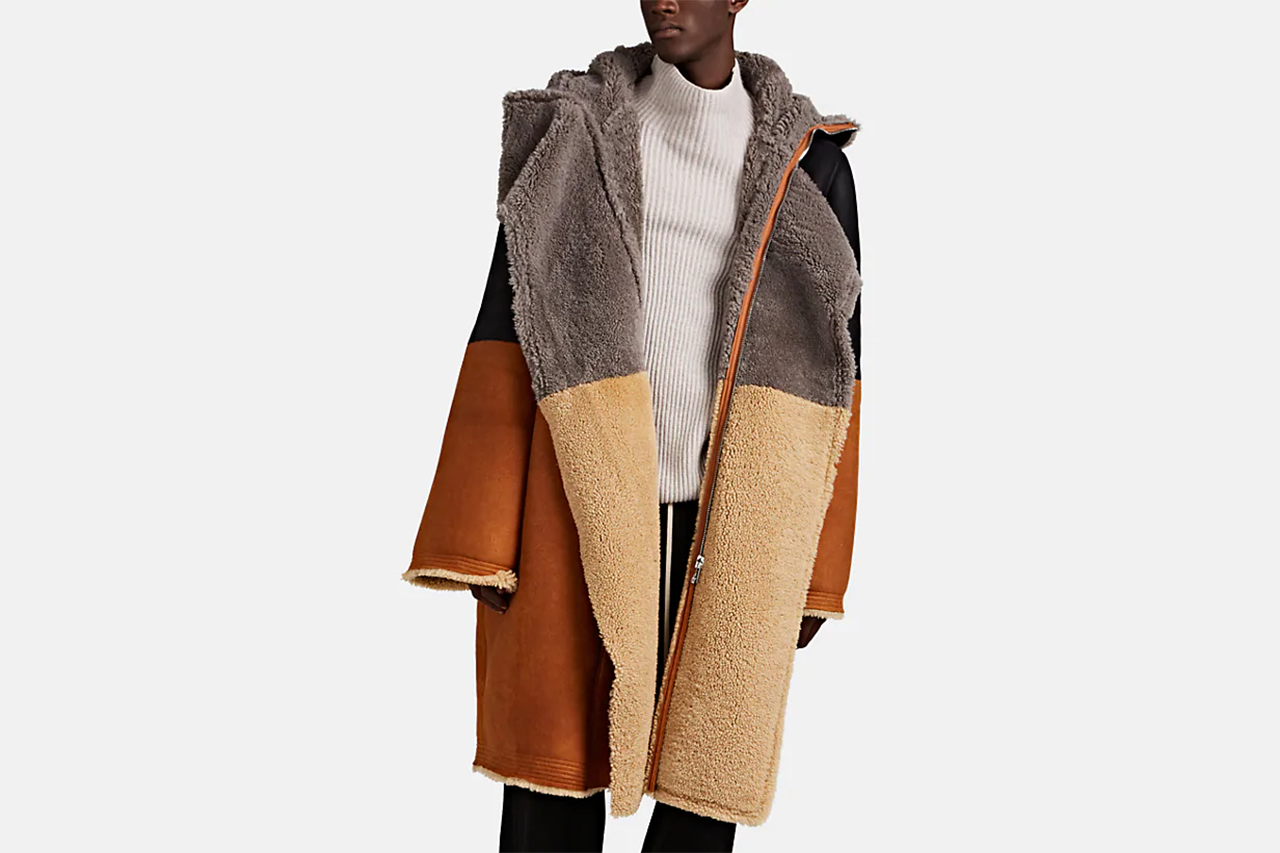 Rick Owens Colorblocked Shearling Hooded Coat